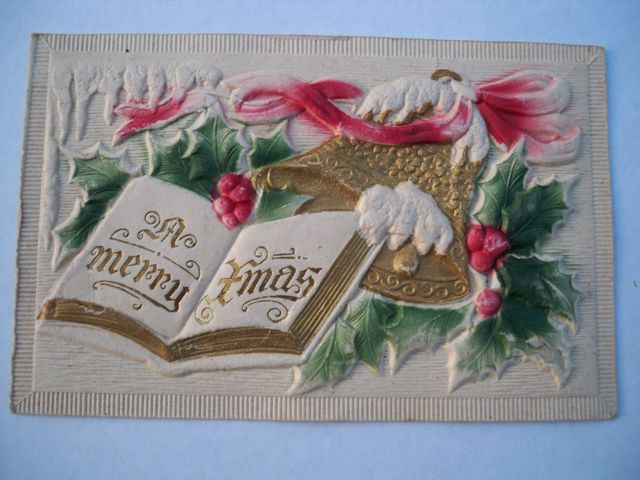 Vintage Embossed Egg Carton Christmas Postcard Bells Holly Free Shipping
