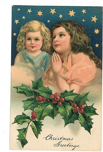 Embossed Christmas Postcard Angels Stars 1909