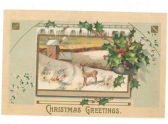 Vintage Christmas Postcard Embossed Deer Windmill MAB Free Shipping