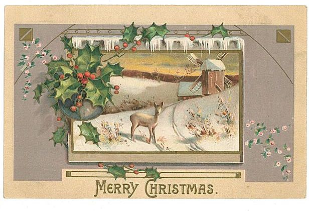Vintage Embossed Christmas Postcard Deer Field Windmill MAB Free Shipping
