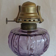 Thumbprint Panel Oil Lamp Amethyst US Glass 1883