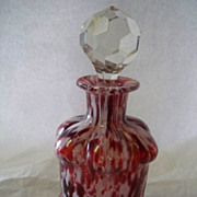 Red White Cased Glass Facet Cut Top Perfume Bottle Spatter
