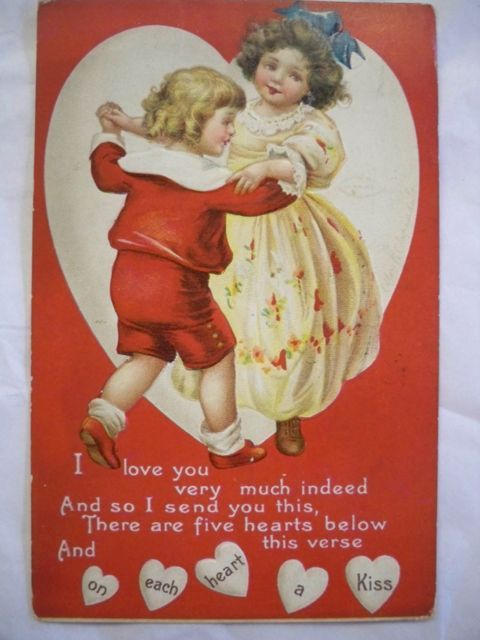 Signed Clapsaddle Valentine Postcard 1913 Free Shipping