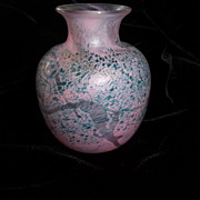 Robert Held Art Glass Vase Signed Pinks Greens Signed