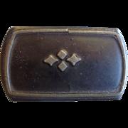 Victorian Lacquer Paper Mache Snuff Box Pewter Design