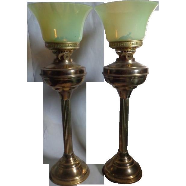 Pair Duplex Banquet Oil Lamps Vaseline Glass Shade Corinthians