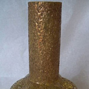 Antique Harrach Gold Frit Glass Vase Lemon Yellow
