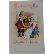 Clapsaddle Thanksgiving Postcard Pilgrim Children John Alden Priscilla
