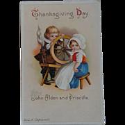 Clapsaddle Thanksgiving Postcard Pilgrim Children John Alden Priscilla Free Shipping