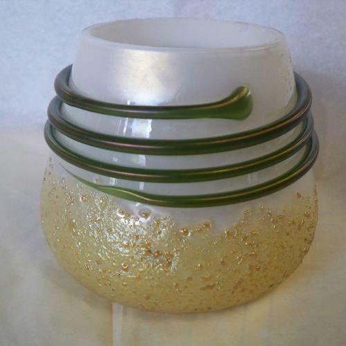 Kralik Vase Gold Frit Green Thread on MOP Glass