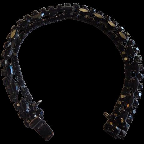 Sherman Black Rhinestone Bracelet Signed Book Piece