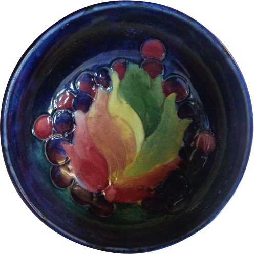 Signed William Moorcroft Footed Bowl Leaf and Berry Pattern Blue Ground