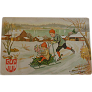 Norwegian Christmas Postcard God Jul Merry Christmas
