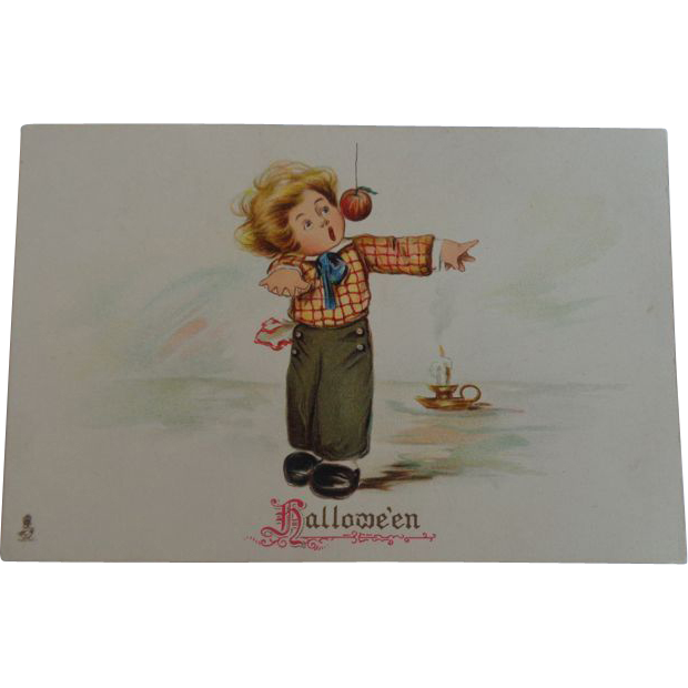 Tuck's Halloween Postcard Boy Apple on String Candle