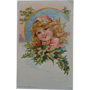 1908 Christmas Postcard Little Girl Holly Gray Lith Co