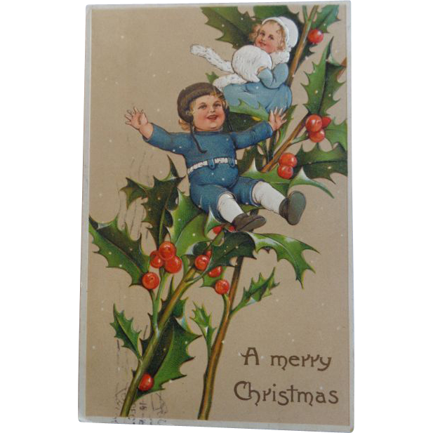 Christmas Postcard Embossed Children Holly 1909 Germany Free Shipping