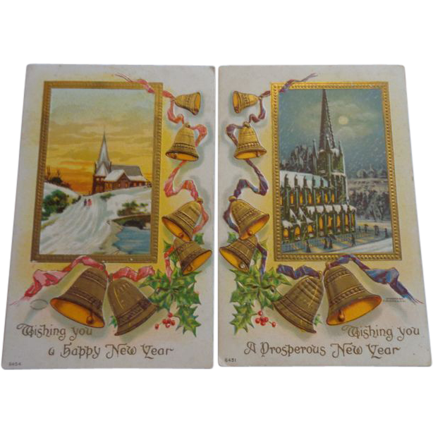 2 Happy New Year Embossed Postcards Bells Church
