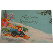 Christmas Postcard Children Sledding 1928
