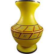 Czech Yellow Satin Glass Vase Enamel Design 1920s