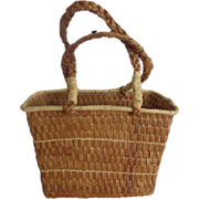 Makah Red Cedar Bark Market Basket Purse Tourist Item
