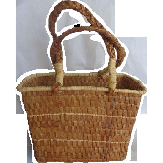 Makah Red Cedar Bark Market Basket Purse Tourist Item