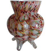 Welz Spatter Glass Vase with Feet 1900s
