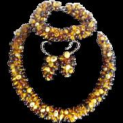 Amber Parure Set Necklace Bracelet Earrings Sterling Clasp