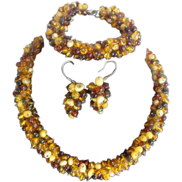 Amber Parure Set Necklace Bracelet Earrings Sterling Clasp