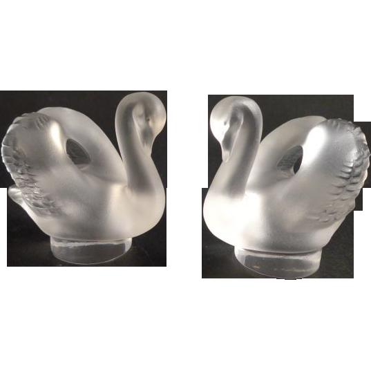 Pair Lalique France Swan Letter Seals