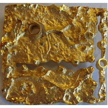 Gilles Vidal Modernist Brutalist Gold Plated Pewter Brooch Signed Canadian 1970s