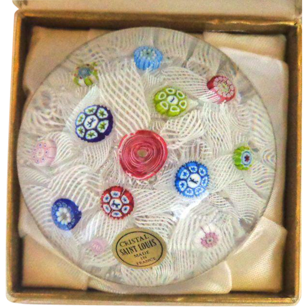 St. Louis France Scattered Millefiori On Lacy Ground 1978 In Original Box