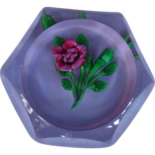 St. Louis France Paperweight 1978 Rose Original Box Certificate 268/350 Harrods