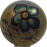 Signed Craig Zweifel Art Glass Paperweight Floral Iridescent 1976