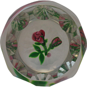 Perthshire Paperweight 1980 A Rose And Bud Certificate #3/300