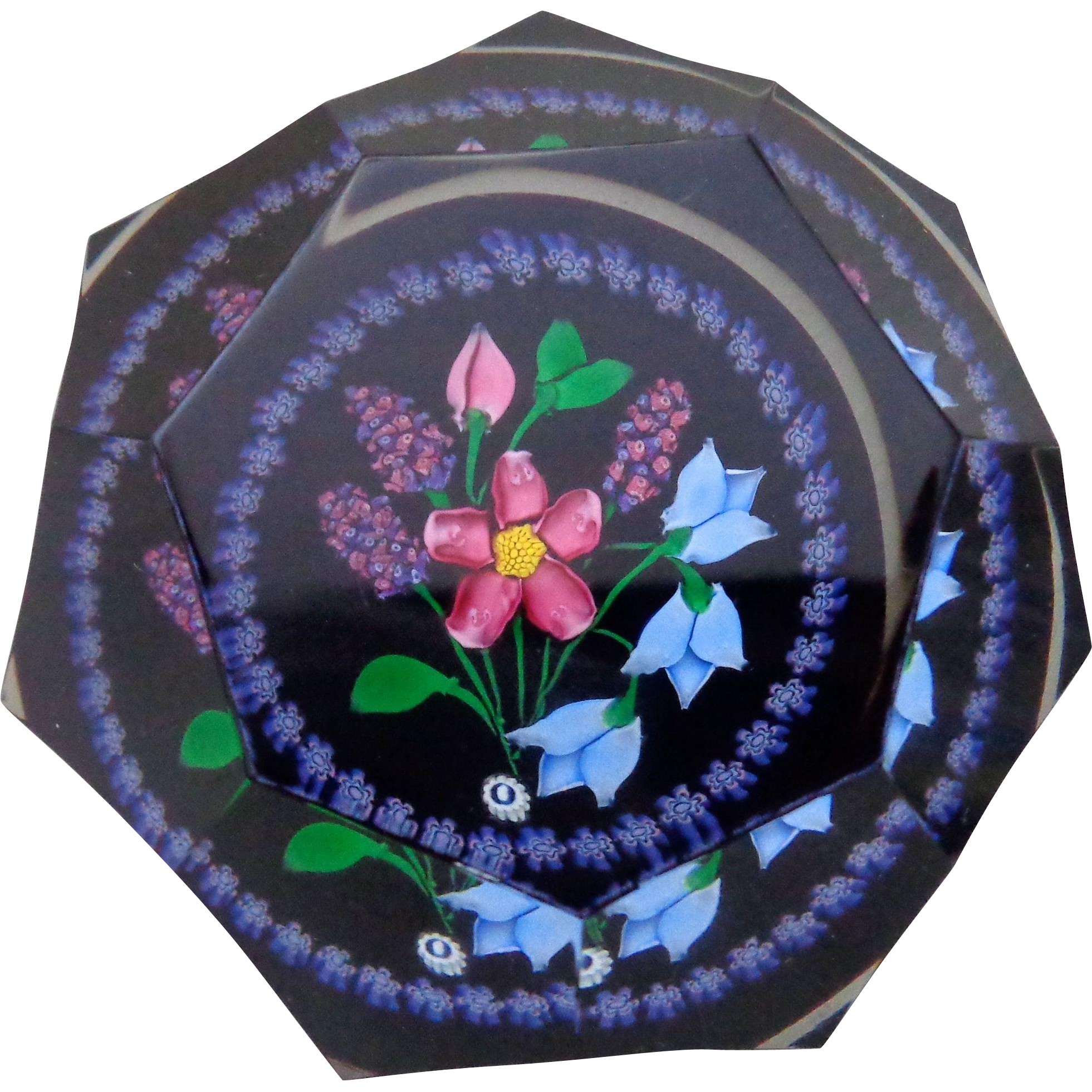 1998 Whitefriars Caithness Glass Rosette Fleming Hyacinth Bouquet Paperweight in Box #20
