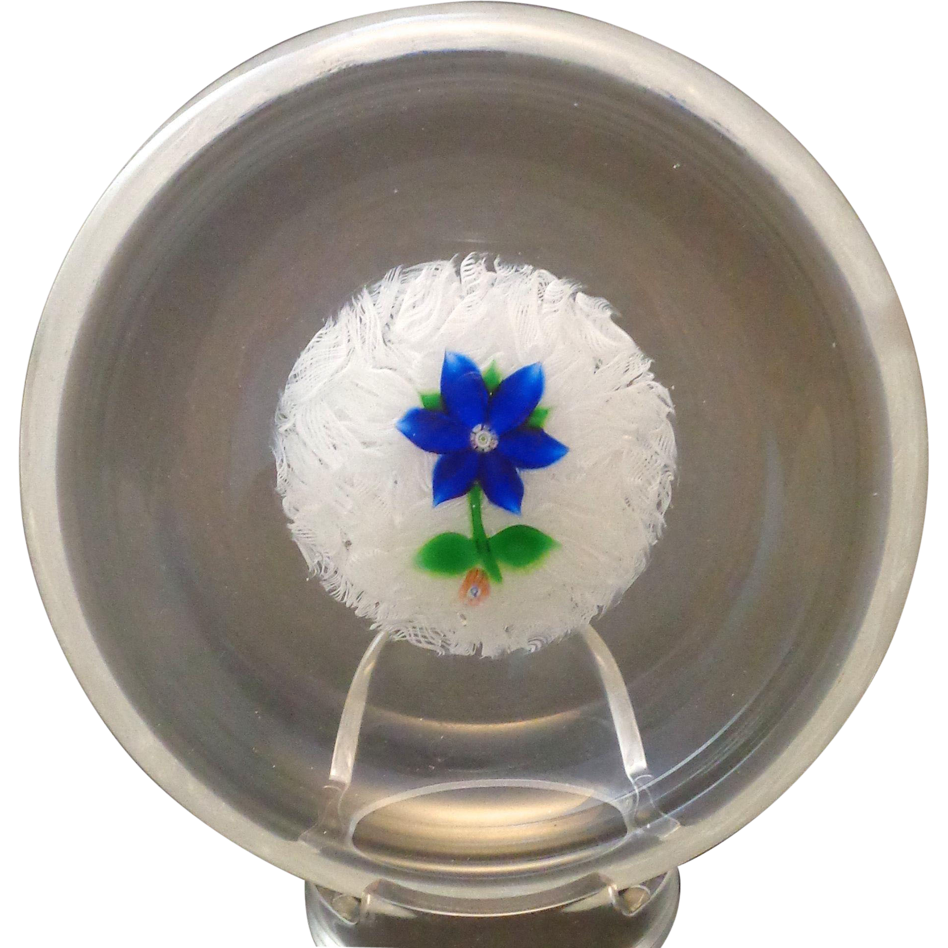 Perthshire Paperweight Bowl Blue Lampwork Flower Latticino