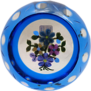 For Ken Perthshire Paperweight 1997E Blue Flash Overlay Bouquet 146/250