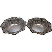 Pair 1895 Sterling Nut Candy Bowls Sheffield Fenton & Staniforth