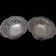 Pair 1894 Sterling Bread Bowls London Aldwinckle & Slater Pierced Design