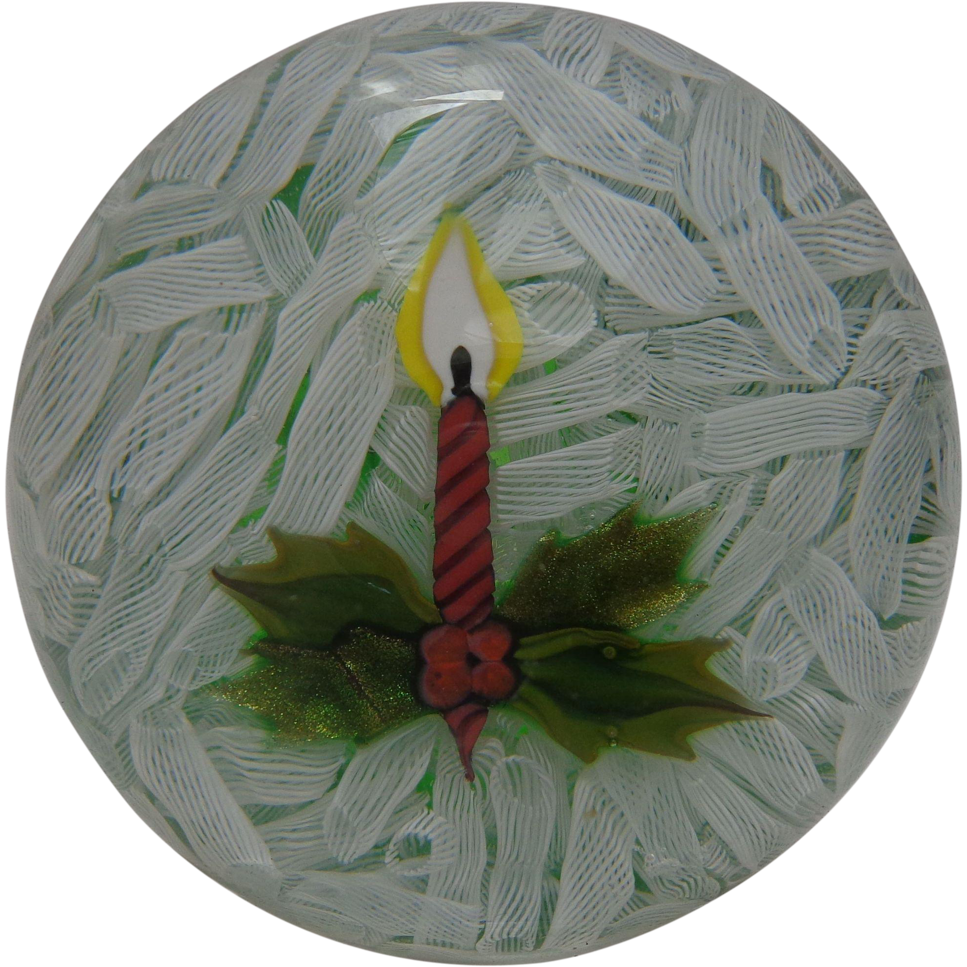 Perthshire Paperweight 1980 Christmas Candle Paperweight