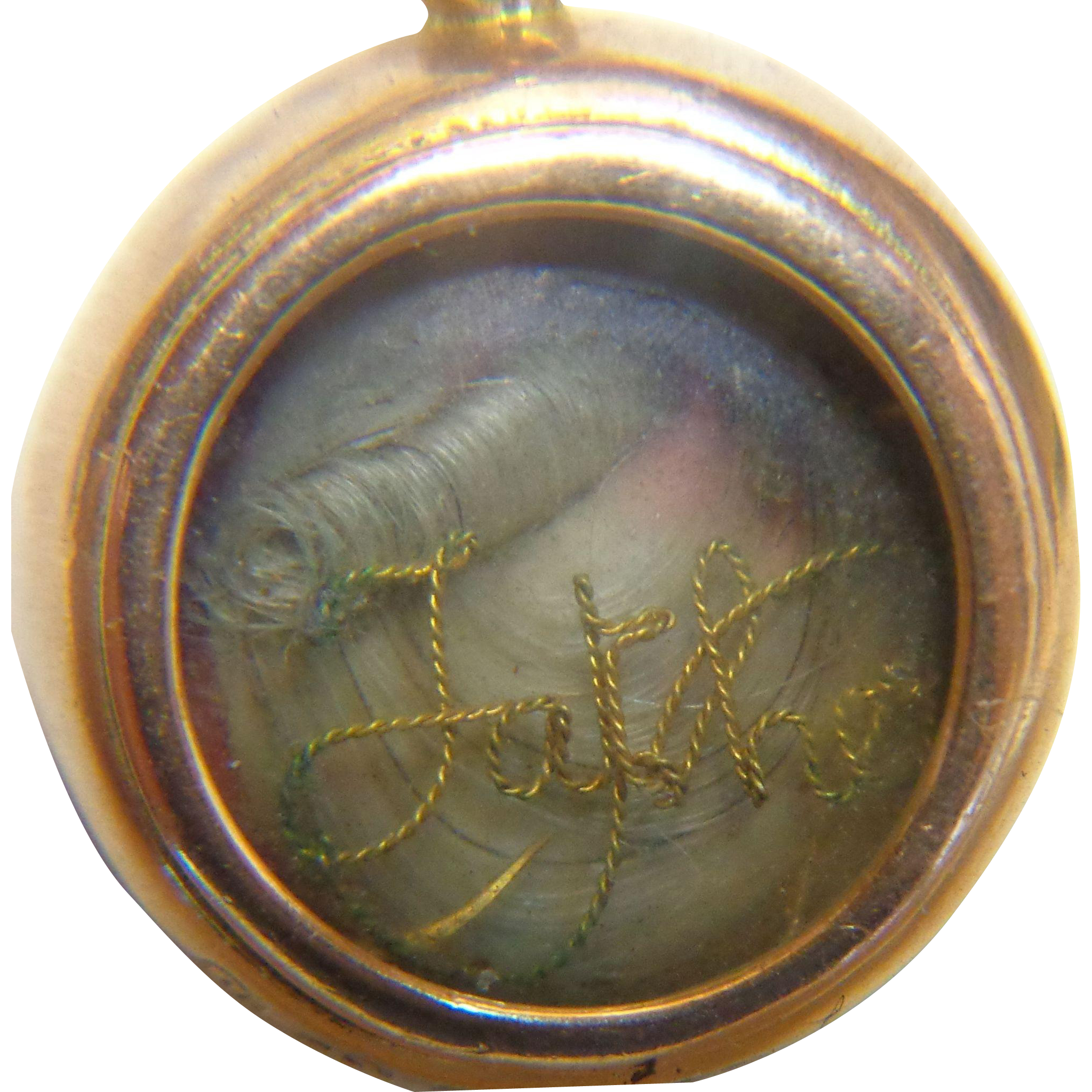 Mourning Jewelry Hair Locket 15C Gold Father Birmingham Grinsell & Sons