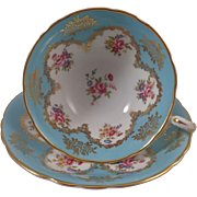 Paragon England Cup & Saucer Blue with Floral Bouquet