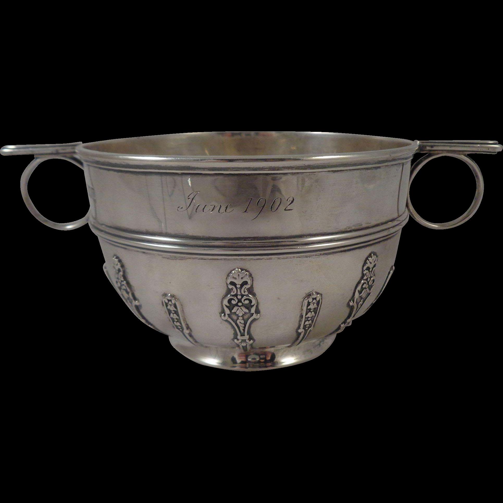 Sterling Christening Cup Porringer 2 Handles London 1901