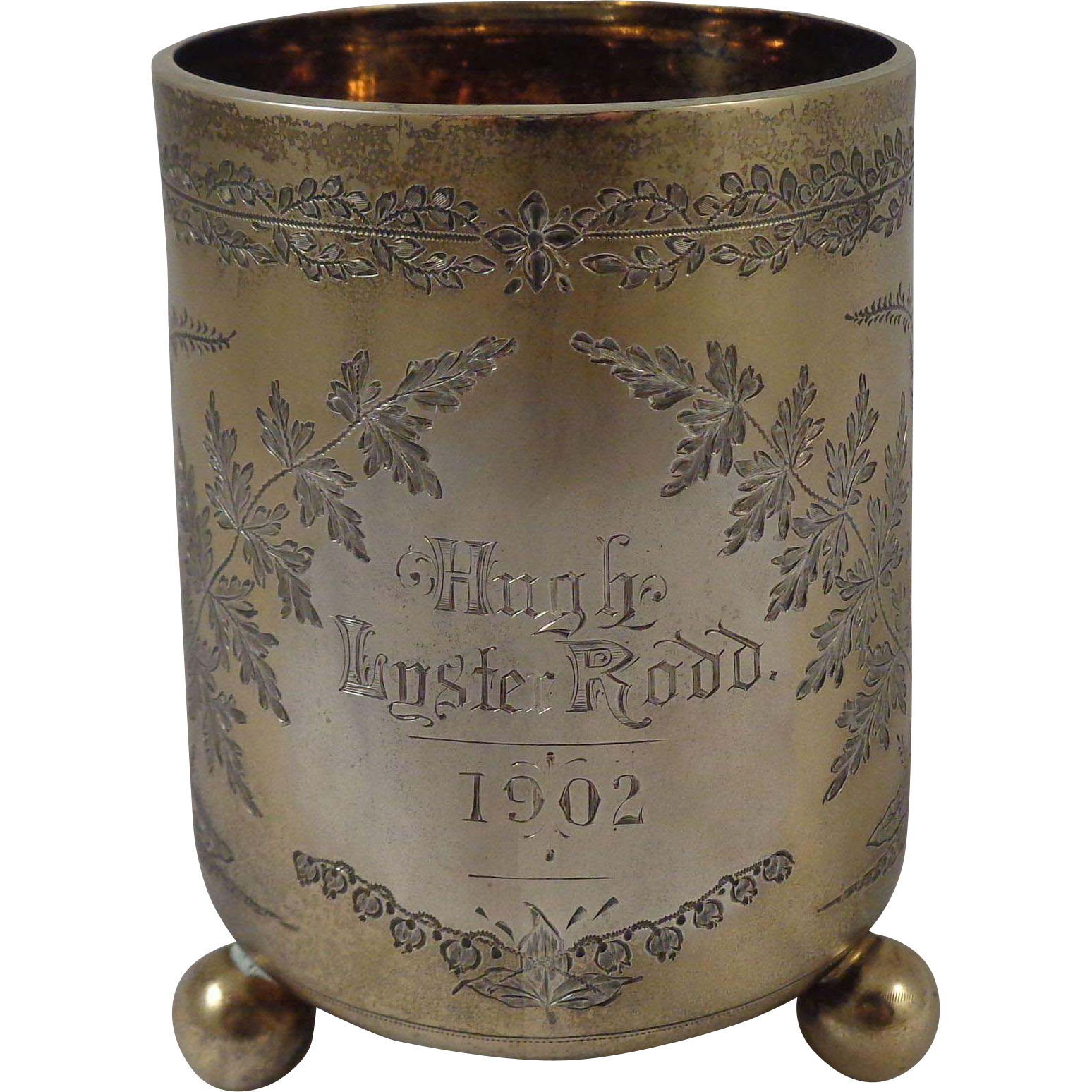 1875 Sterling Christening Cup Aesthetic Design Bun Feet