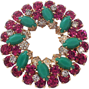 Sherman Brooch Opaque Jade Fuchsia & Clear 3 Tiers Christmas Colours Signed