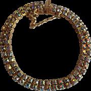 Signed Sherman Double Row Rhinestone Bracelet Aurora Borealis Gold Tone