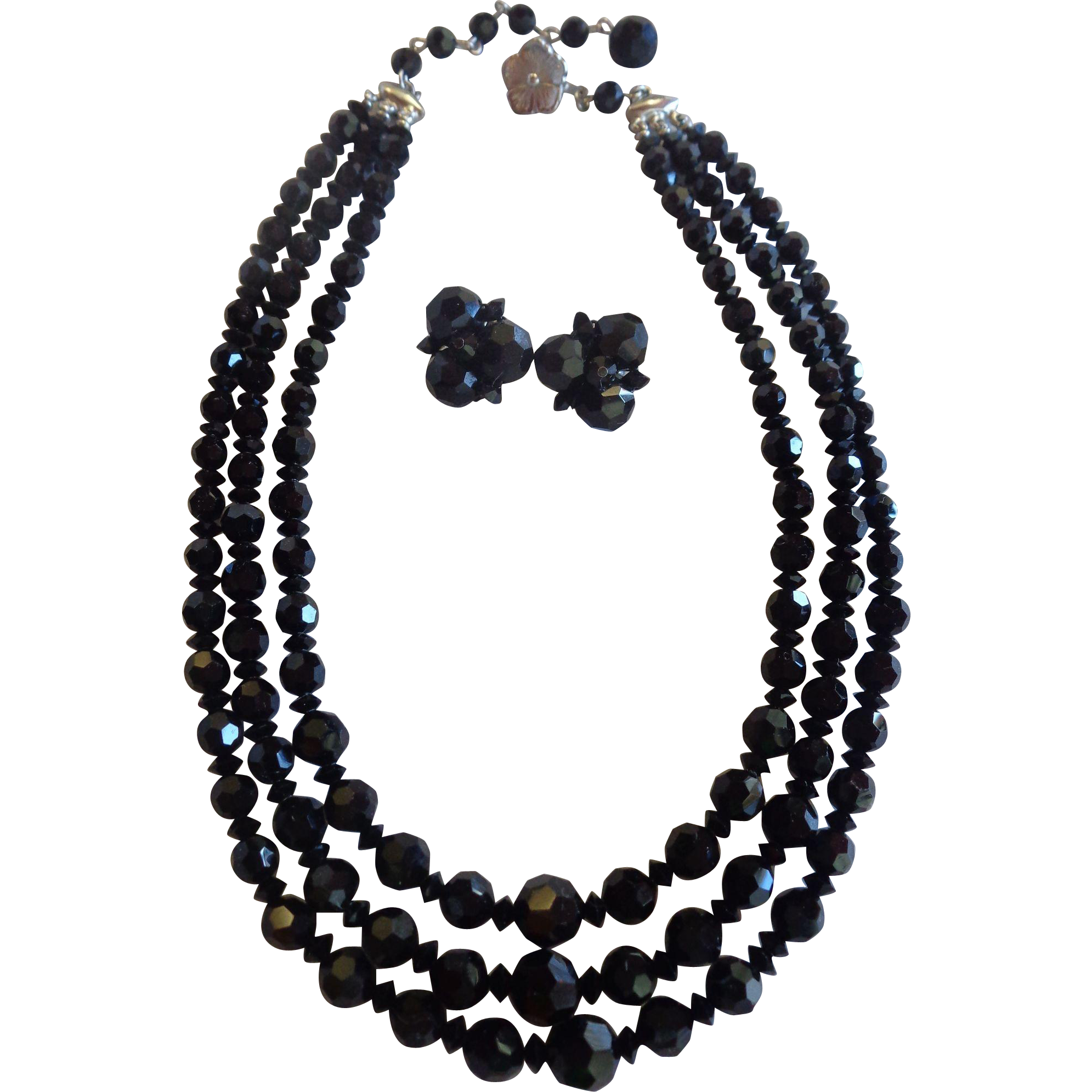 Sherman Triple Strand Crystal Necklace & Earrings Black