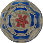 Perthshire Paperweight 1980 Encased Double Overlay Pink Flower