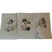 3 RPPC Mother & Daughter Hand Coloured