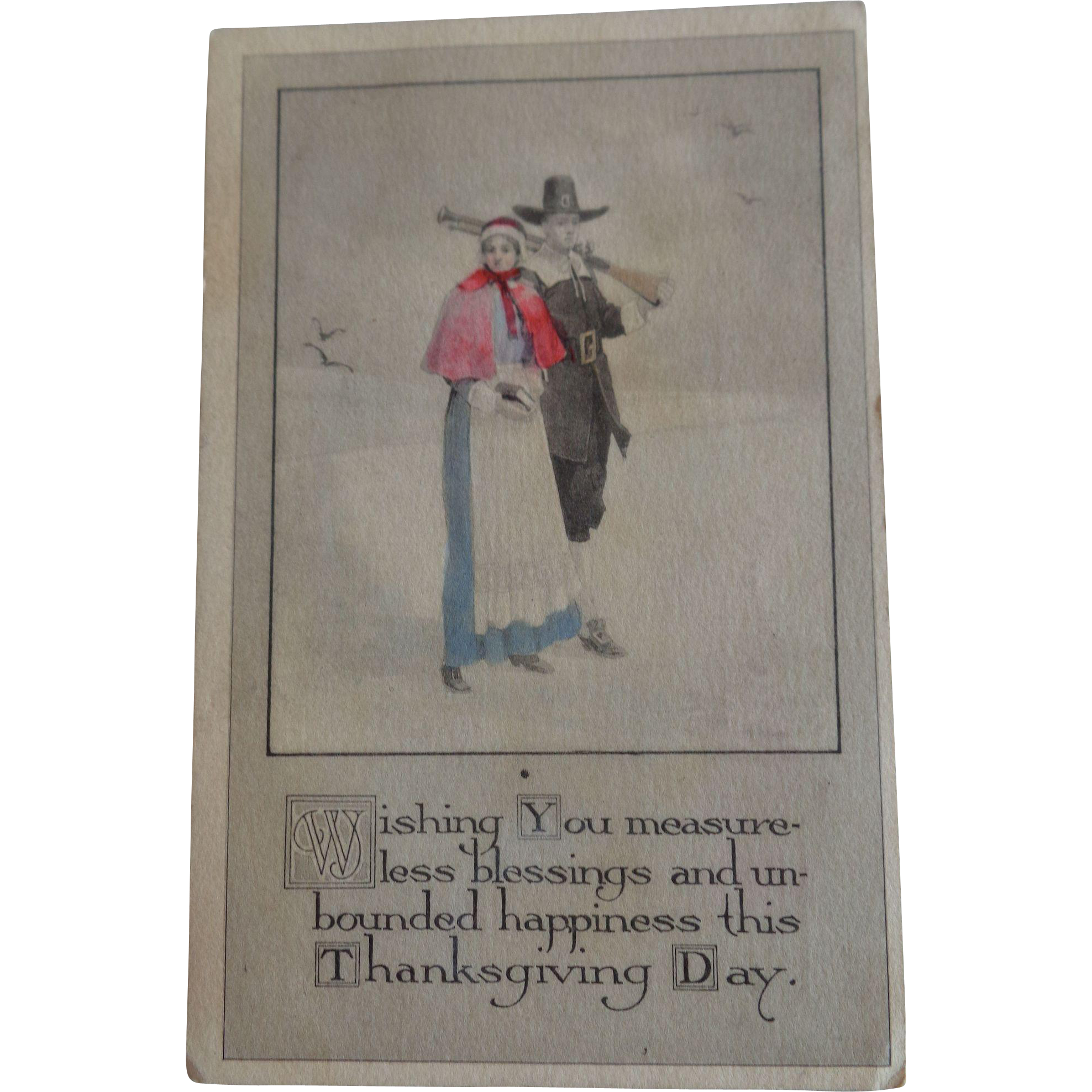 Gibson Art Co Hand Coloured Postcard Thanksgiving